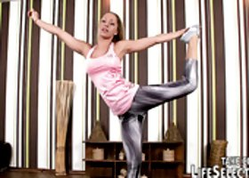 Flexible yoga babe lets dude fuck her soaking bald pussy missionary style