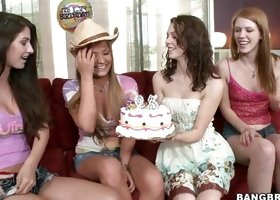 Birthday Party Turns Into Foursome Lesbian!