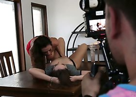 Jaw dropping beauty Ariella Ferrera gives interview before the scene