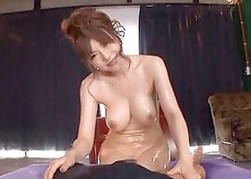 Big Breasted Japanese Anri Okita Titty Fucks with Big Oiled Up Boobs