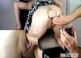 A nympho slut have fetish for weird stuff and she gets fisted and then receives a piss all over her body