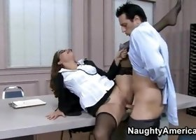 Beauty in dick sucking porn in office