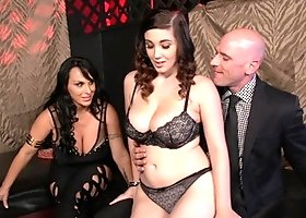 Two busty bitches are getting their pussies rammed in a threesome