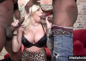 Big breasts porn star footjob and man milk in mouth