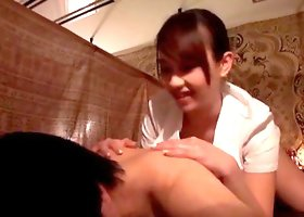 Massage parlor stroking and sex with a Japanese cutie