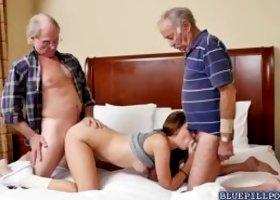 College babe Naomi Alice sucks and fucks two old men cocks to have some extra cash She was desperately needed money and gave her fresh pussy to get wa