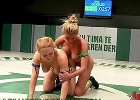 Two Big Blondes Wrestle Each Other´s Bikini´s Off