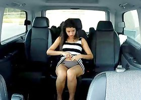 Alicia Poz sucks an enormous black wang in a car and gets fucked hard