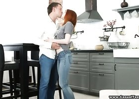 Nice cute looking pale redhead Lili Fox gets poked from behind properly