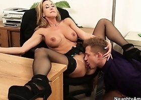 Brandi Love plays the part of a hot secretary that needs a raise