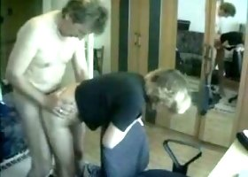 Having quickie with my blonde mature wife on hidden cam