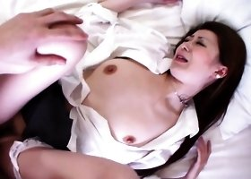 Hairy twat of Japanese girl Yuu Sakura is in need of some hard hairy cock