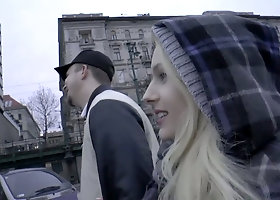 Juggy blonde Angel Wicky is picked up and fucked hard by horny dude