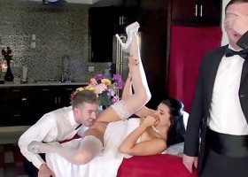 Romi Rain fucked by best man while hubby is out sleeping