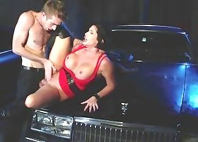 Milf in black leather boots is riding a very hard wiener