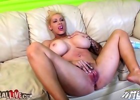 Busty blonde Candy Manson riding on top!