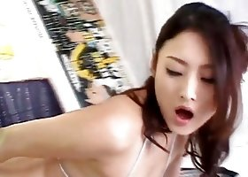 Risa Murakami strip and masturbate with dildo