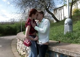 Romantic slender gal surprises her own boyfriend with an outdoor blowjob