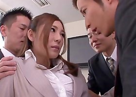 Japanese secretary gets her pussy ravaged by her coworkers