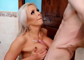 Sex addict fucks his new busty stepmom Nina Elle