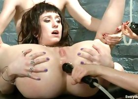 Two Babes Giving An Enema To A Cute Brunette