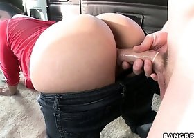 Sexy brunette cutie bends over ton get shafted in the Bangbus