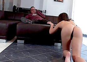 Teen slut interrupts his football watching for a sexy fuck