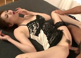 Ameri Ichinose blows and gets her Asian pussy properly fucked