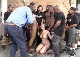 No less than 20 black studs mouth fucked busty brunette tramp Valentina Nappi hard