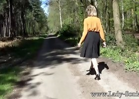 British milf strips on a country road