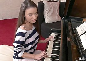 Pretty piano playing teen lets you fuck her on the bench