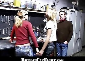 Two blondes collegues are fighting at work