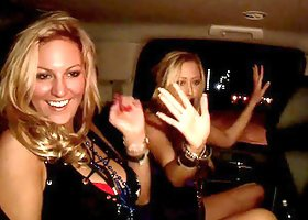 Party sluts flash their tits while in the back of a limo