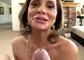 Milf Rebecca Bardoux gets creamed after she gives a fellatio