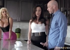 Brunette And Blonde MILFs Have Fun With Cocky Chap