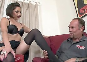 Lexy Veracruz the hot girl in stockings fucks a guy with strap on