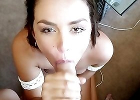 Brunette sucking and stroking a massive dong in HD