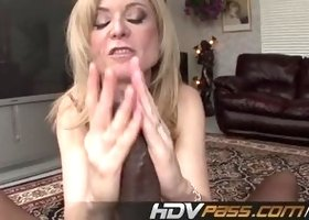 Good-looking Nina Hartley pounded by a black dick