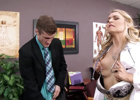 A blonde milf doctor is getting fucked on the desk in her uniform
