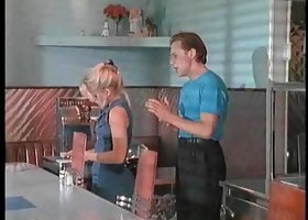 Waitress seduced into sucking and fucking by the manager