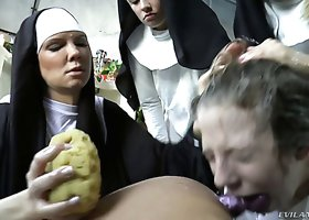 Poor lezzie Chastity Lynn has to please kinky nuns