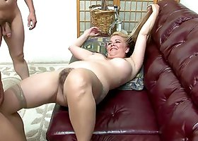 Naughty Blonde Whore Enjoys Being Gangbanged On The Sofa