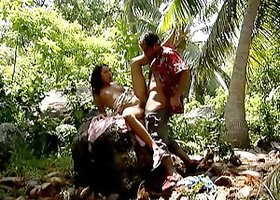 Luisa De Marco enjoys getting her mouth and snatch fucked in the jungle